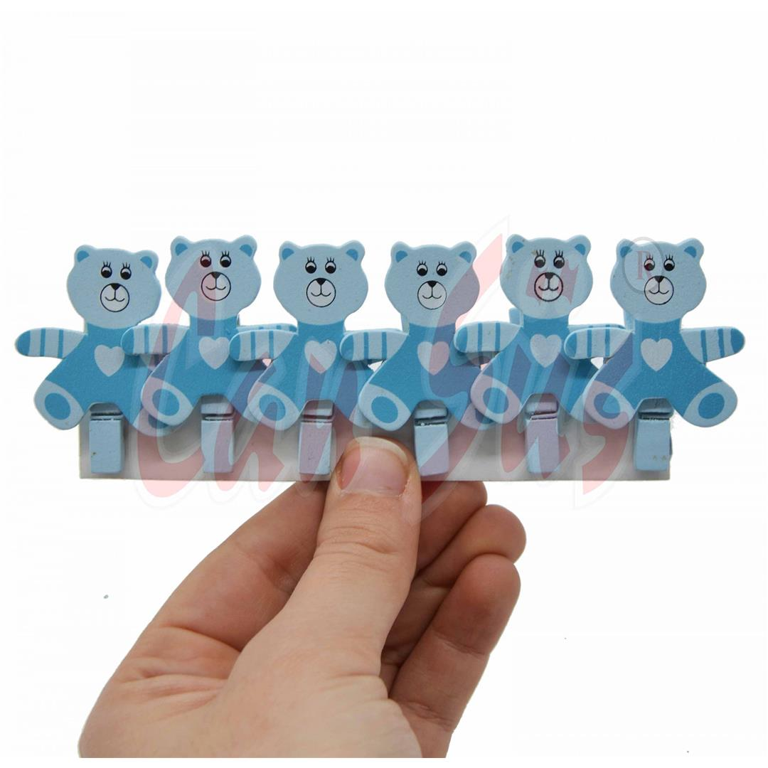 6 PCS WOODEN BEARING MINI LATCHES BLUE