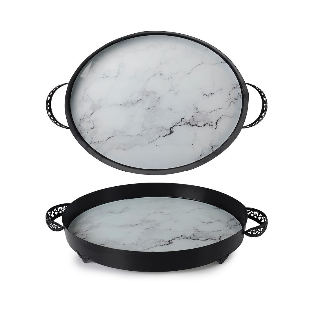 WHITE MARBLE PATTERN SMALL OVAL TRAY 35 CM