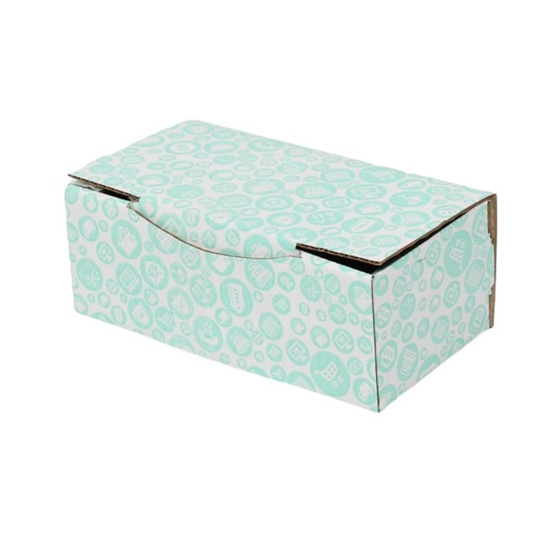 TURQUOISE PATTERNED BOX - 22,5x12x8 CM
