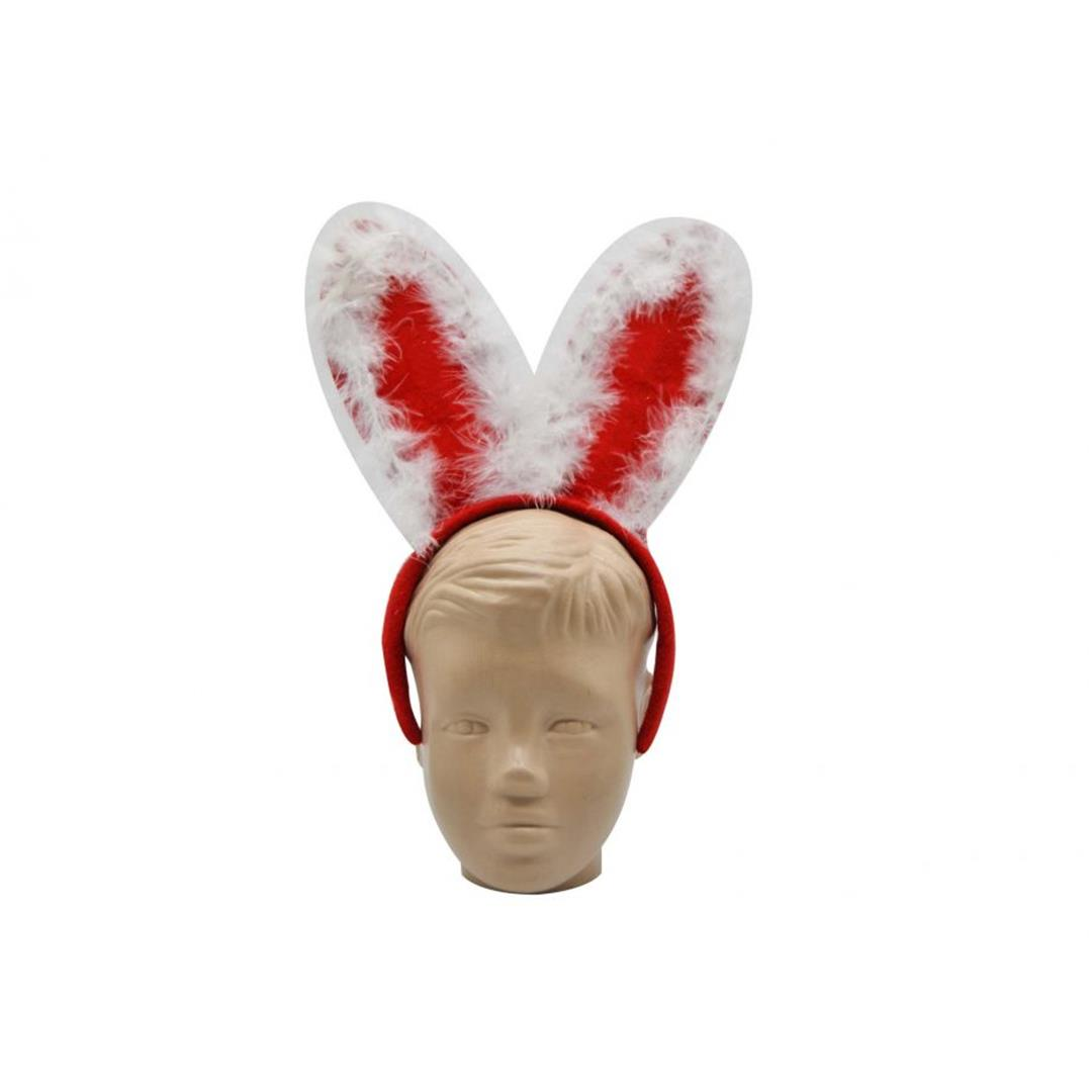 RABBIT-EARED HAIRY CHRISTMAS PARTY CROWN RED