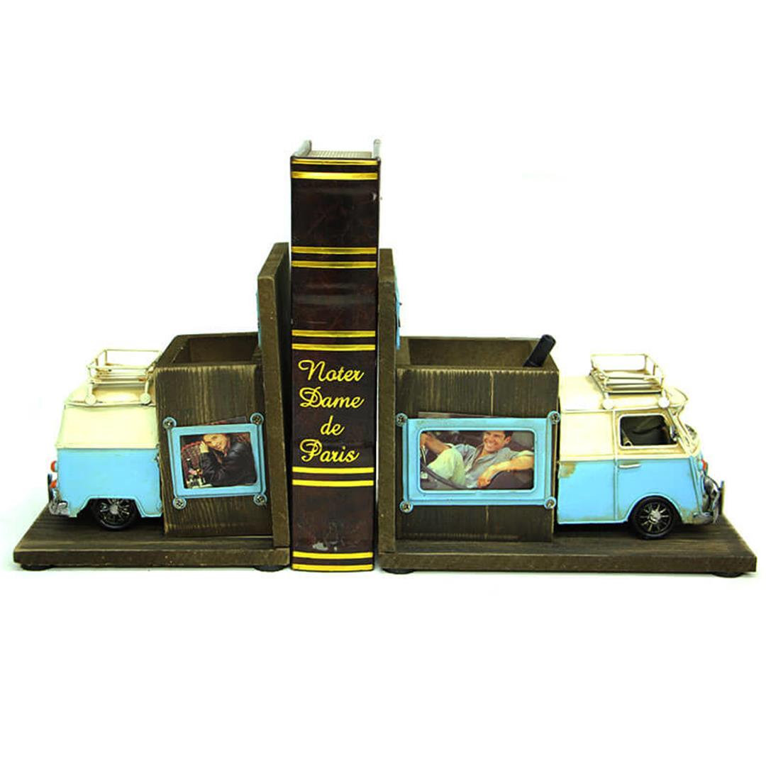 DECORATIVE METAL MINIBUS BOOK HOLDER PENCIL FRAME
