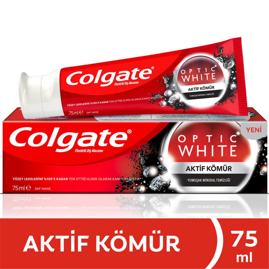 COLGATE OPTİC WHİTE AKTİF KÖMÜR DİŞ MACUNU 75 ML (6 ADET)