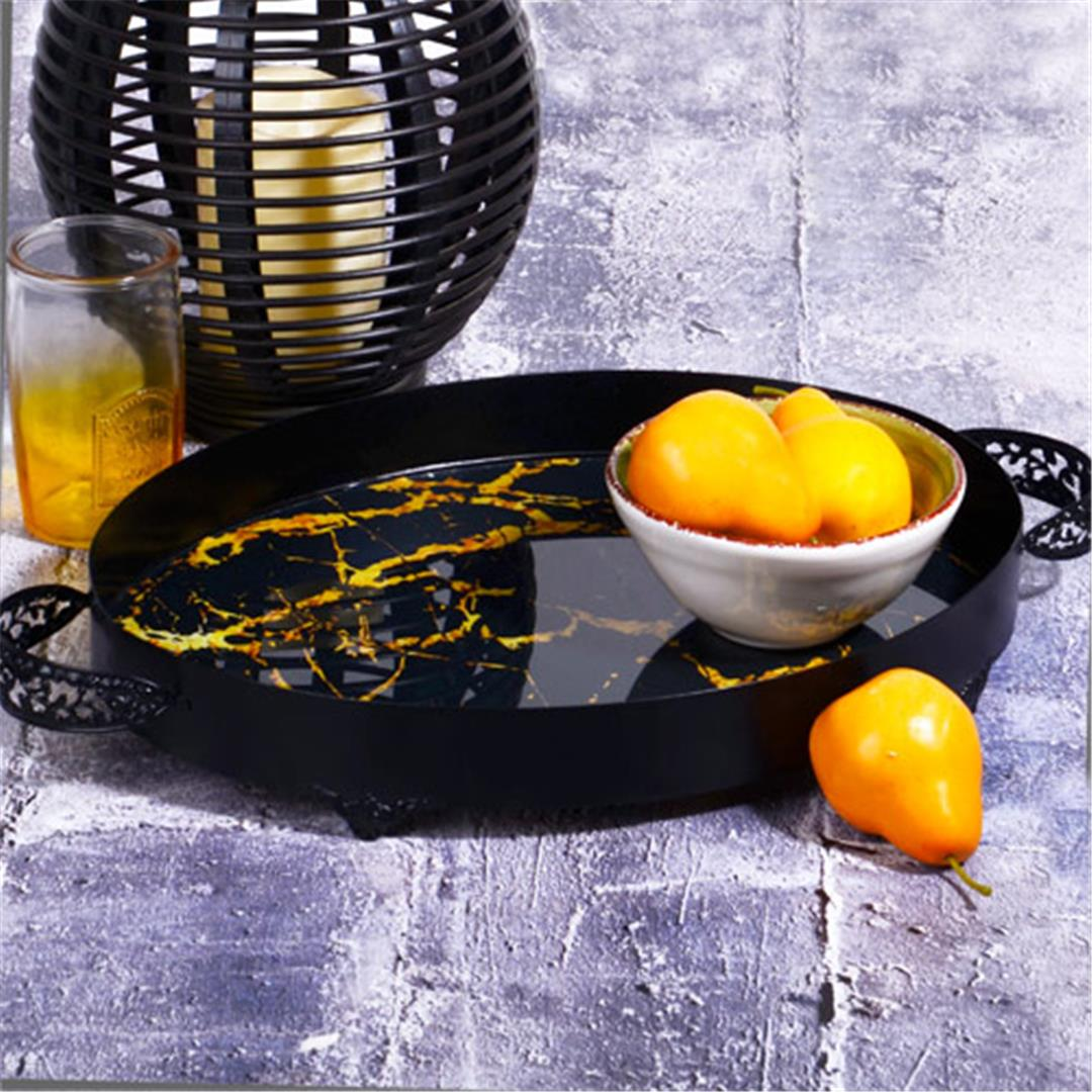 HANDLED LARGE SIZE OVAL GLASS TRAY