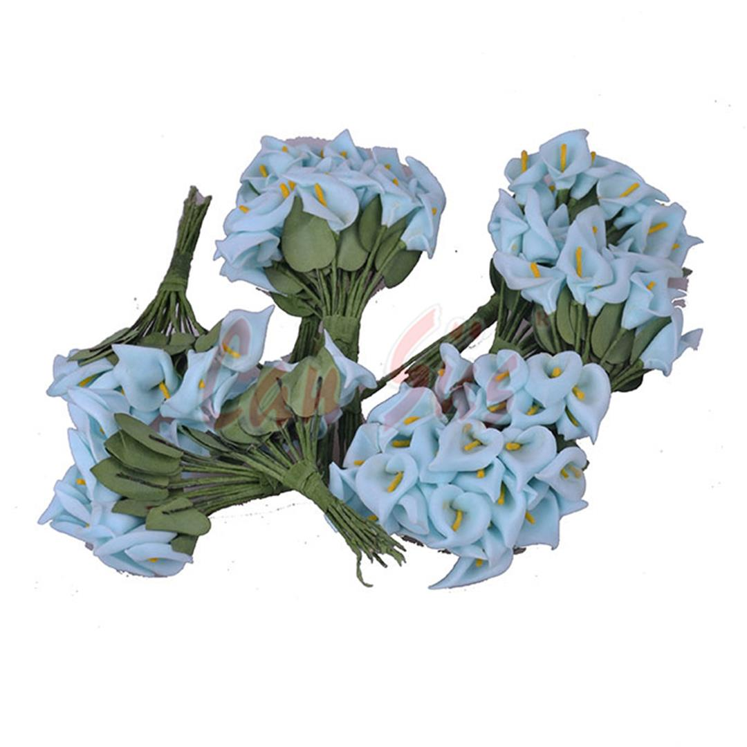 100 PCS PLASTIC GALA FLOWER SUGAR ORNAMENT BLUE 2X10 CM