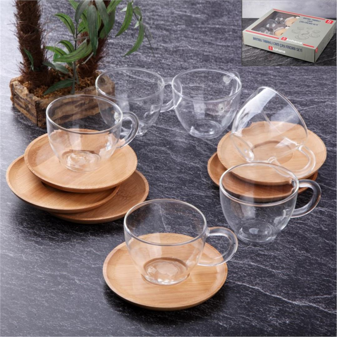 BAMBOO PLATE GLASS TEA CUP SET