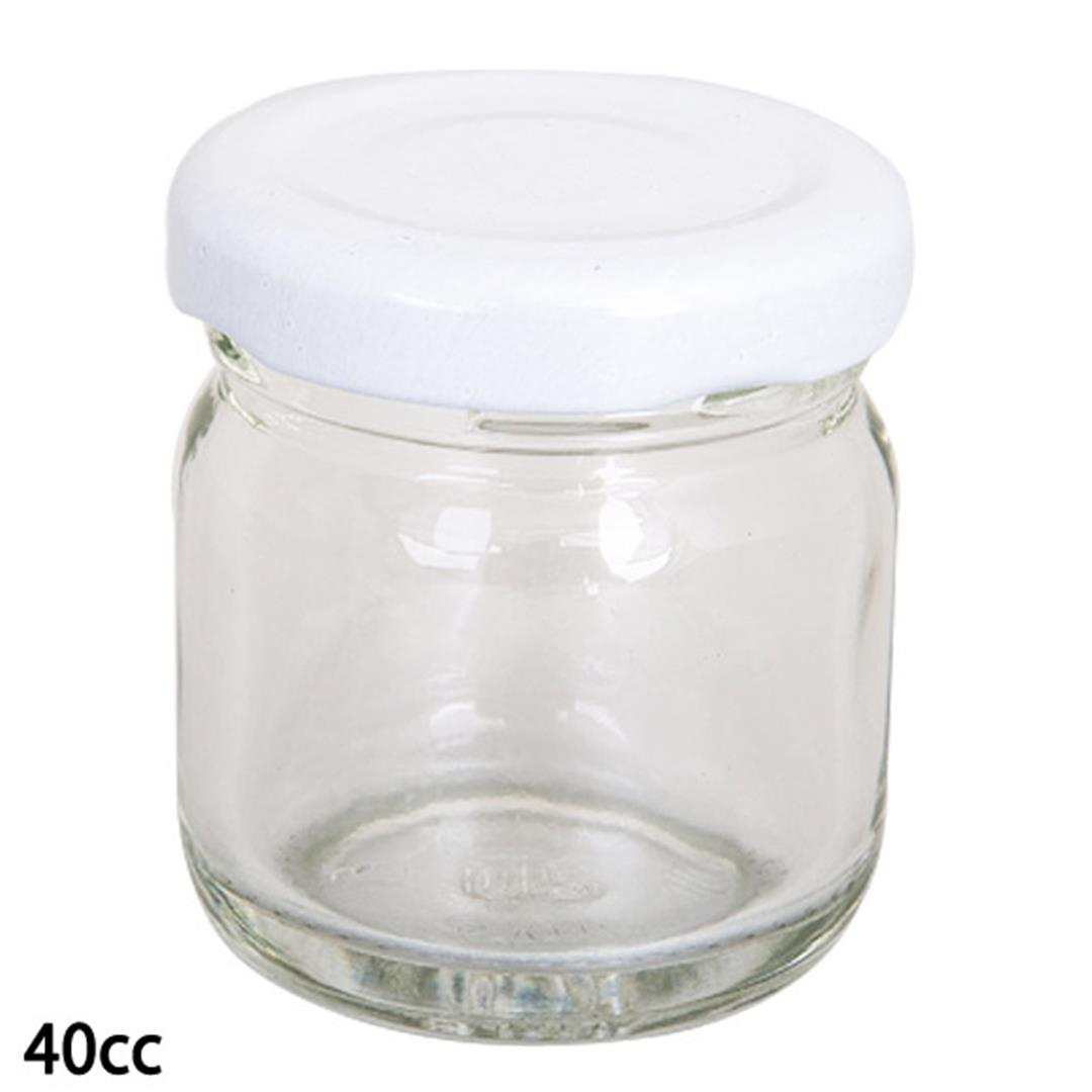 40 CC COVERED MINI GLASS JAR GOLD 10 PIECES