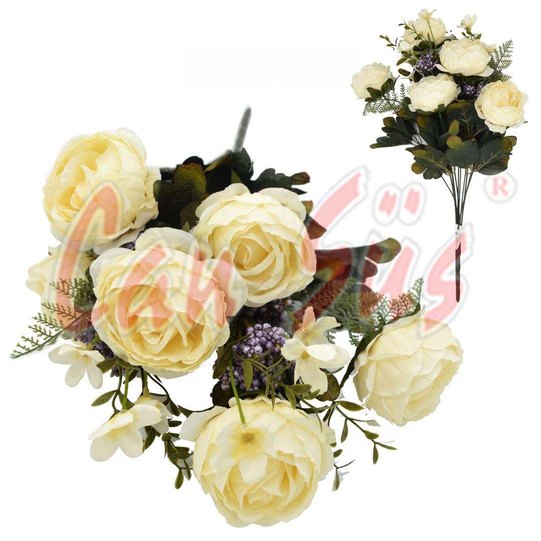 DECORATIVE ARTIFICIAL FLOWER 7-ROSE BOUQUET CREAM
