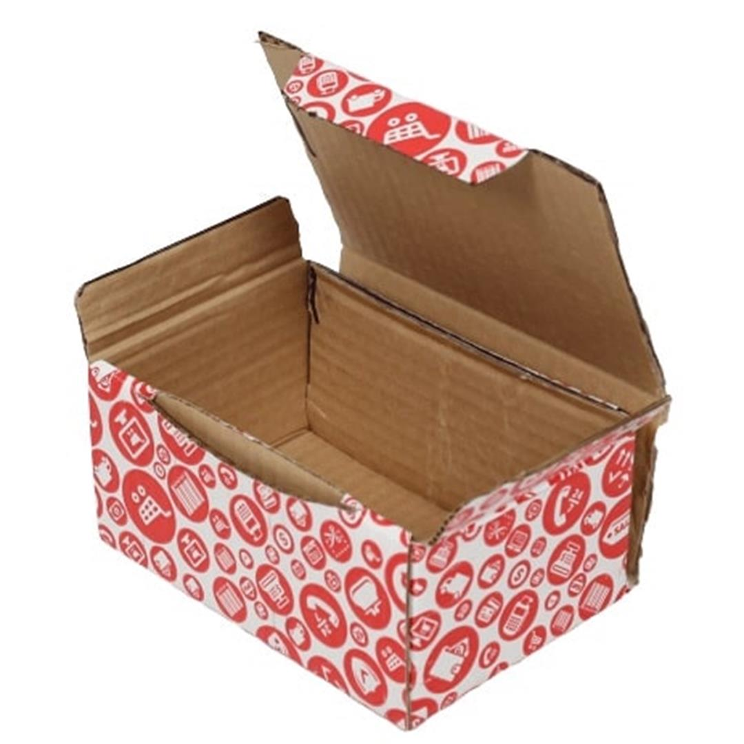 RED PATTERNED SHOPPING BOX - 15,5x11x7,5 CM