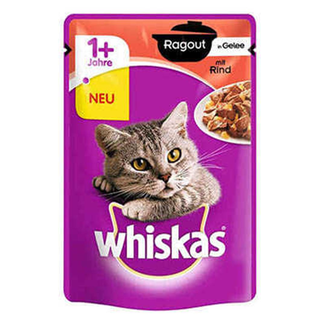 BEEF POUCH ADULT CAT CAN FOOD IN WHISKAS STEW JOLE 85 GR