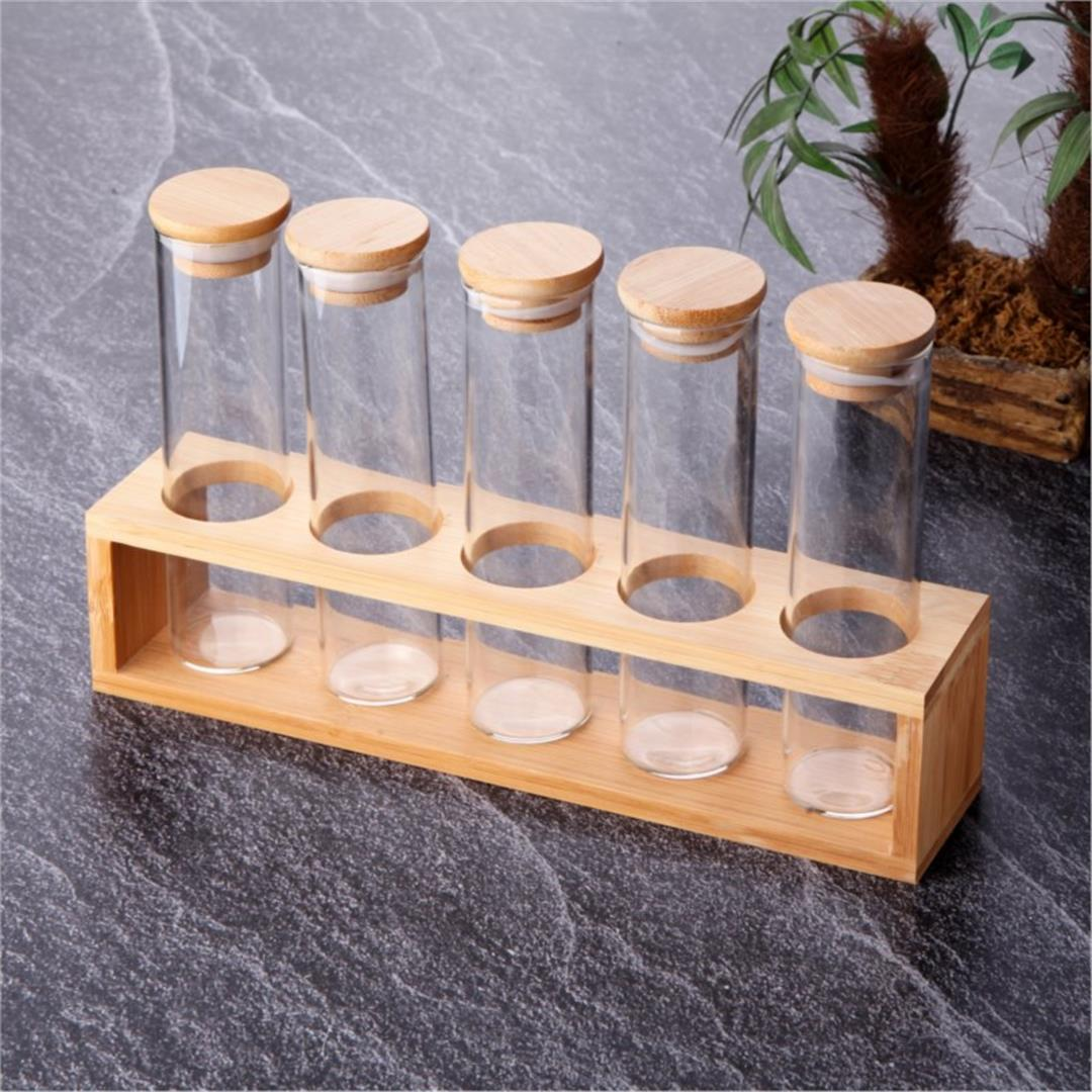 5-PIECE BAMBOO STAND GLASS SPICE HOLDER