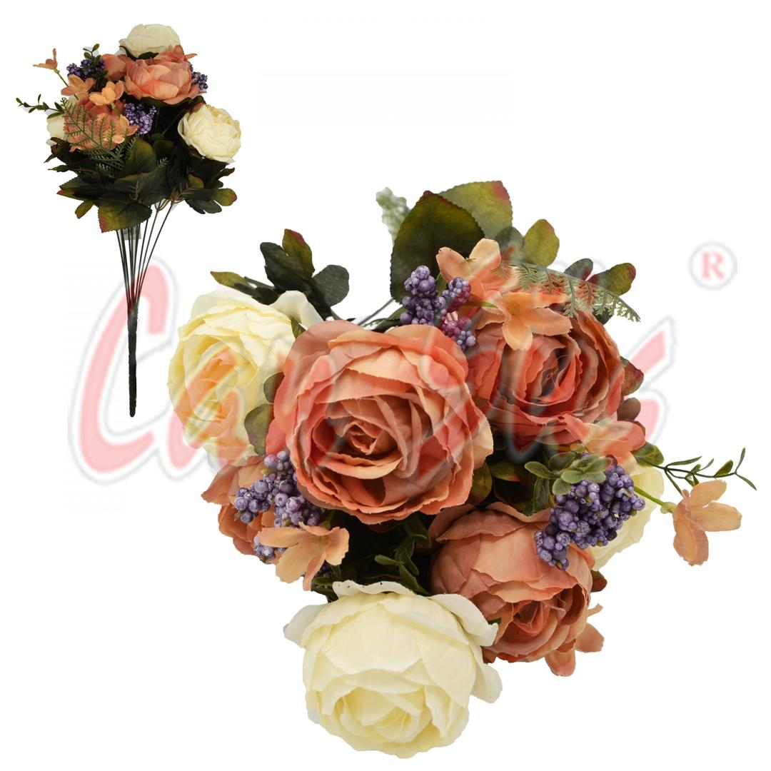 DECORATIVE ARTIFICIAL FLOWER BOUQUET OF 7 ROSE CREAM SALMON