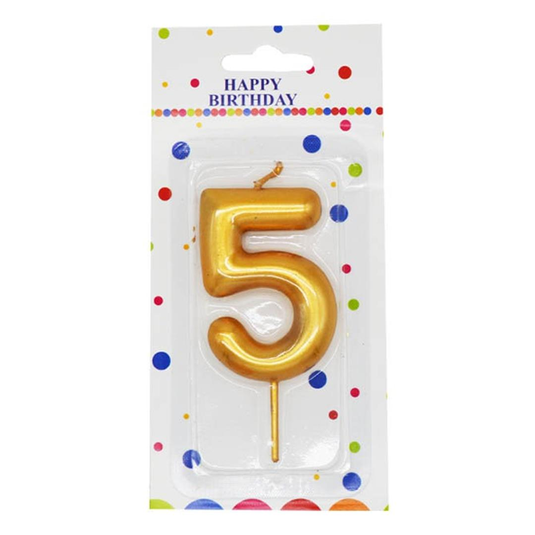 BRIGHT NUMBER 5 BIRTHDAY CAKE CANDLE GOLD