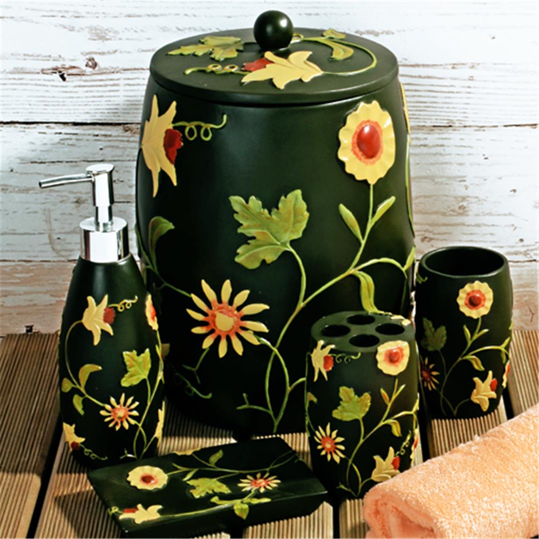 6 PIECES POLYESTER BATH SET WITH DAISY PATTERN