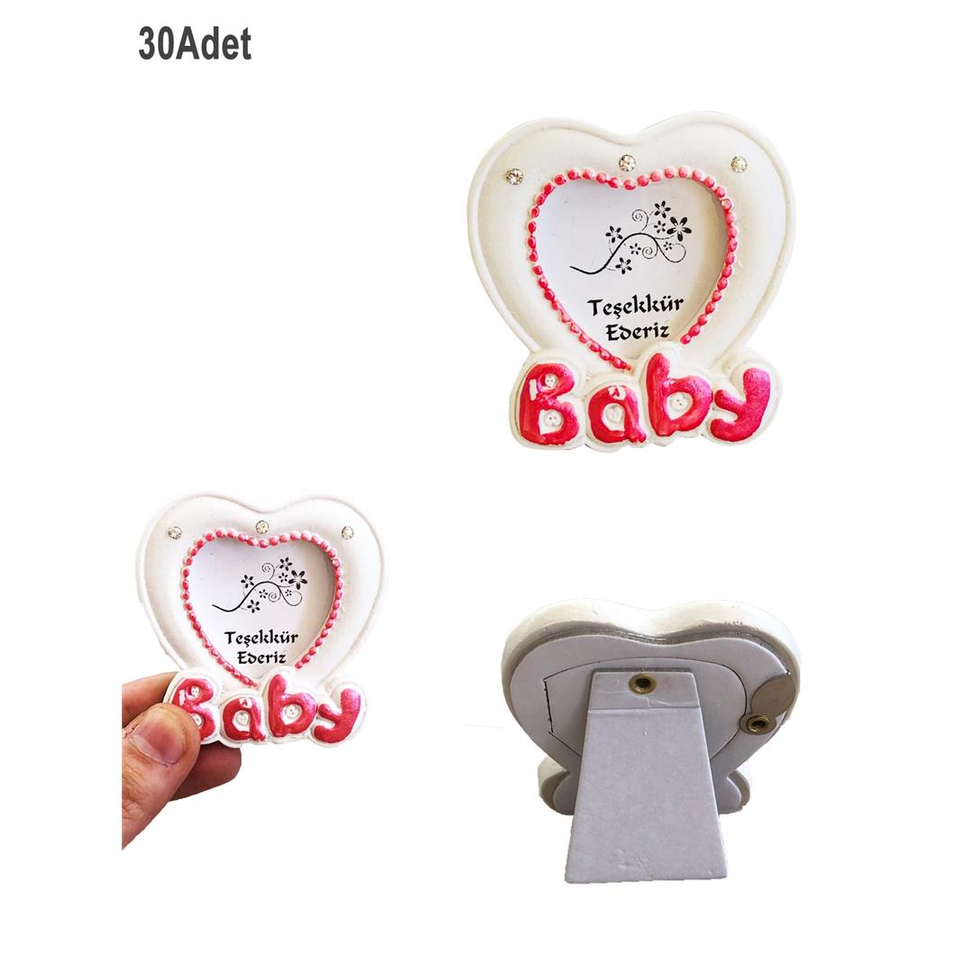 30 PCS POLYESTER FOOT HEART MINI PHOTO FRAME