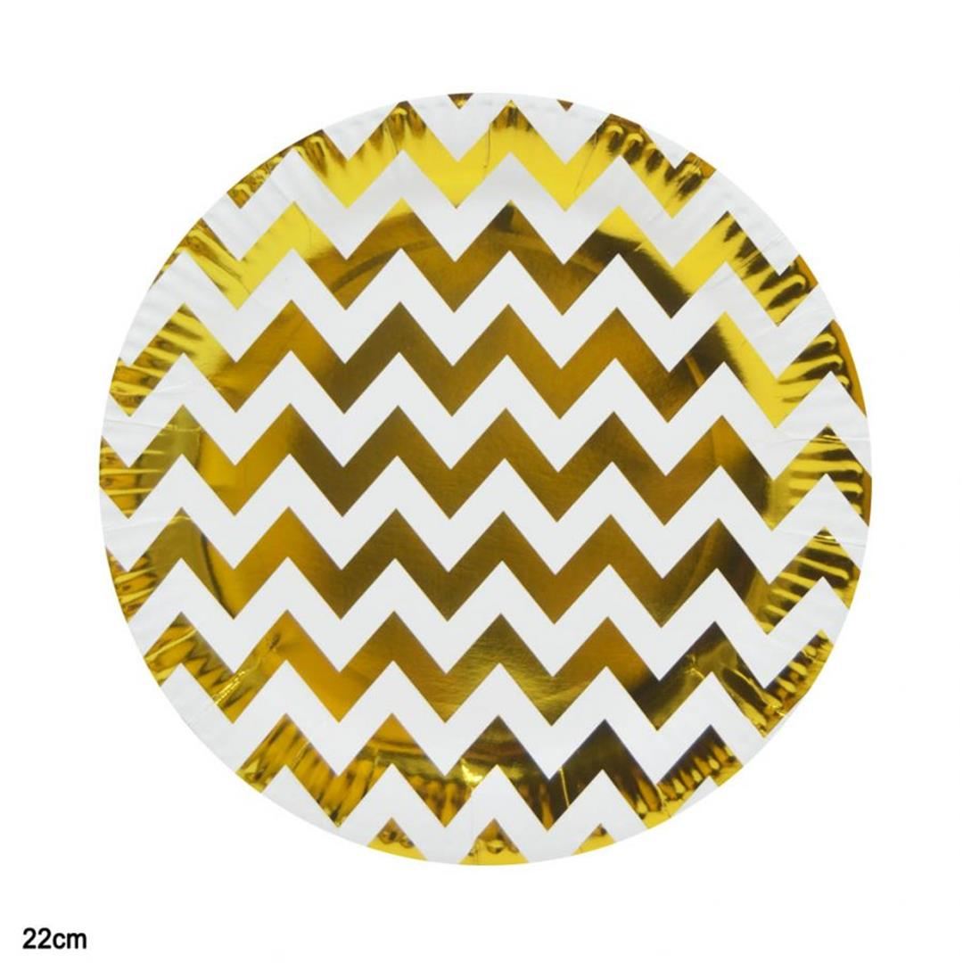 10 PIECES METALLIZED ZIG ZAG PAPER PLATE GOLD 22 CM