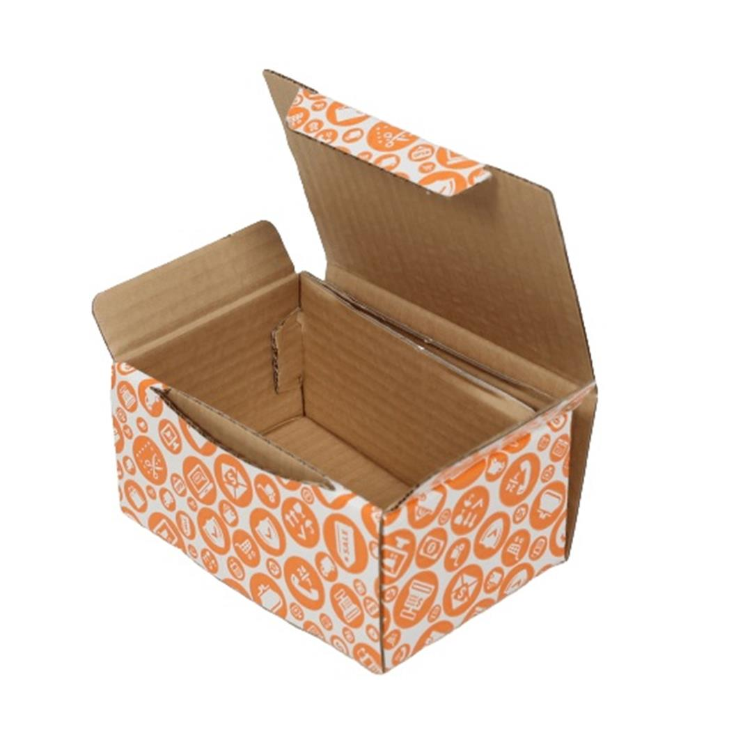 ORANGE PATTERNED SHOPPING BOX - 15,5x11x7,5 CM
