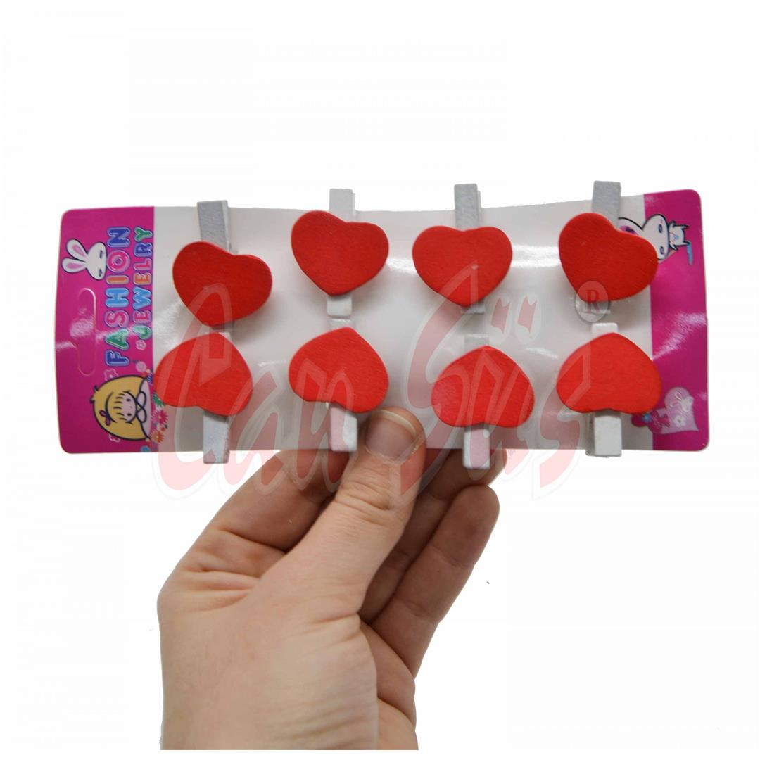 6-PIECE WOODEN HEART MINI LATCHES RED