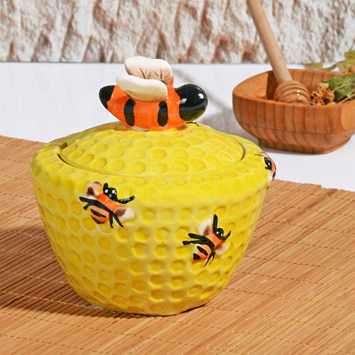 CERAMIC HONEY JAR BAMBOO