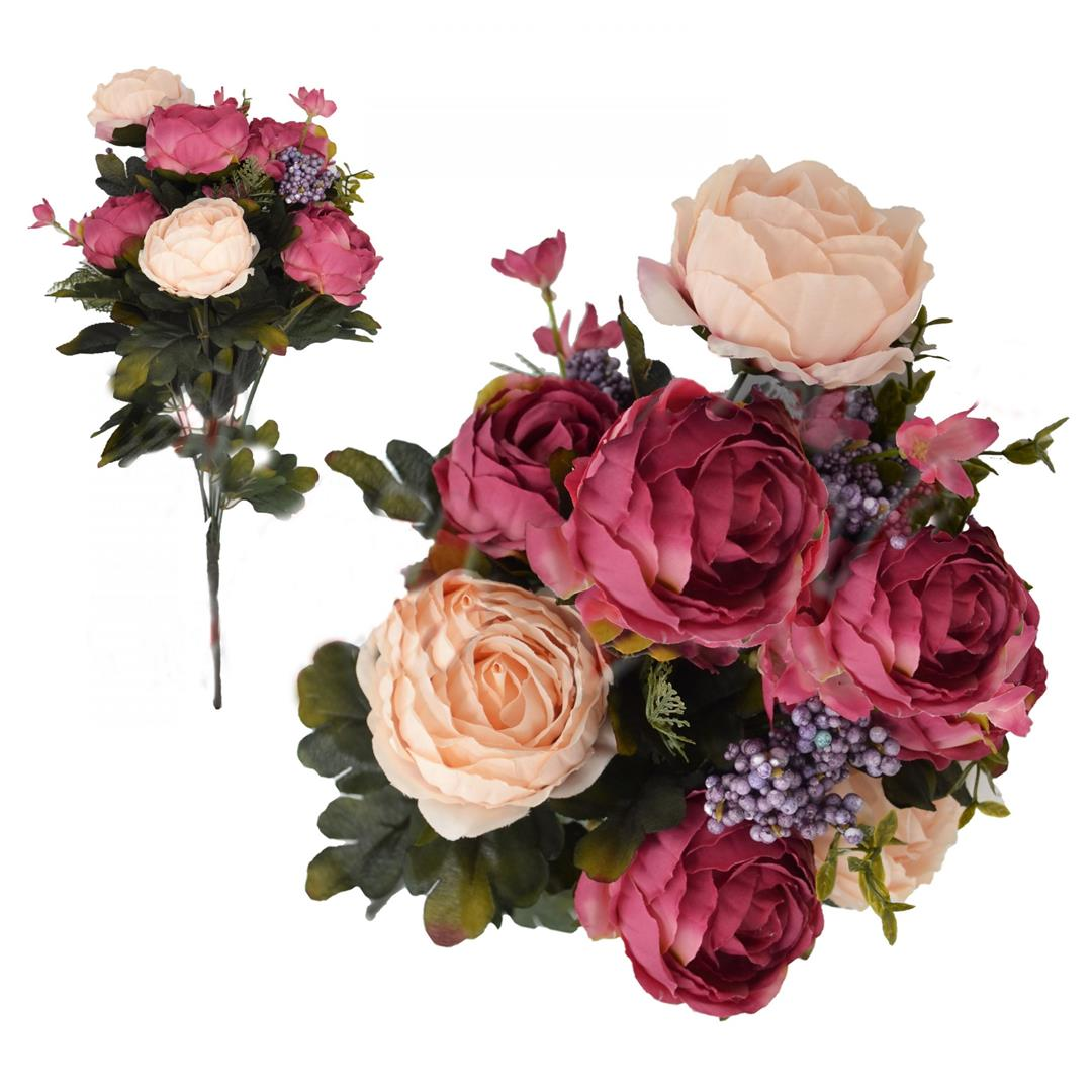 DECORATIVE ARTIFICIAL FLOWER BOUQUET OF 7 ROSES FUCHY SALMON