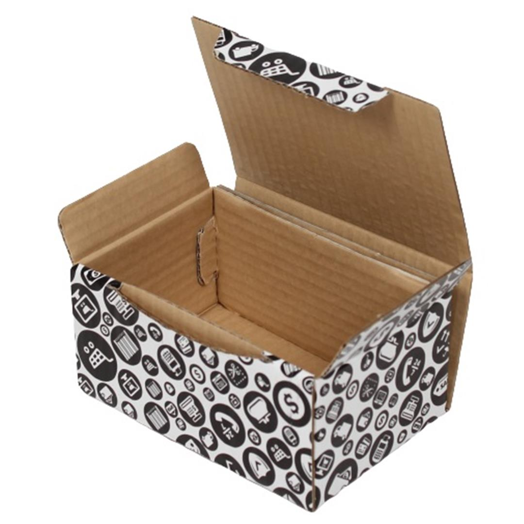 BLACK PATTERNED SHOPPING BOX - 15,5x11x7,5 CM