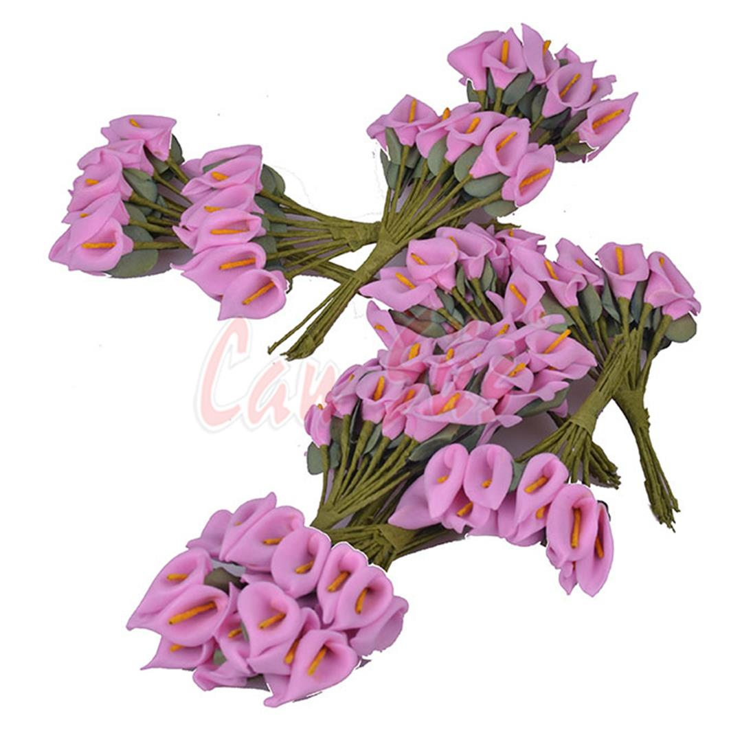 100 PCS PLASTIC GALA FLOWER SUGAR ORNAMENT PINK 2X10 CM