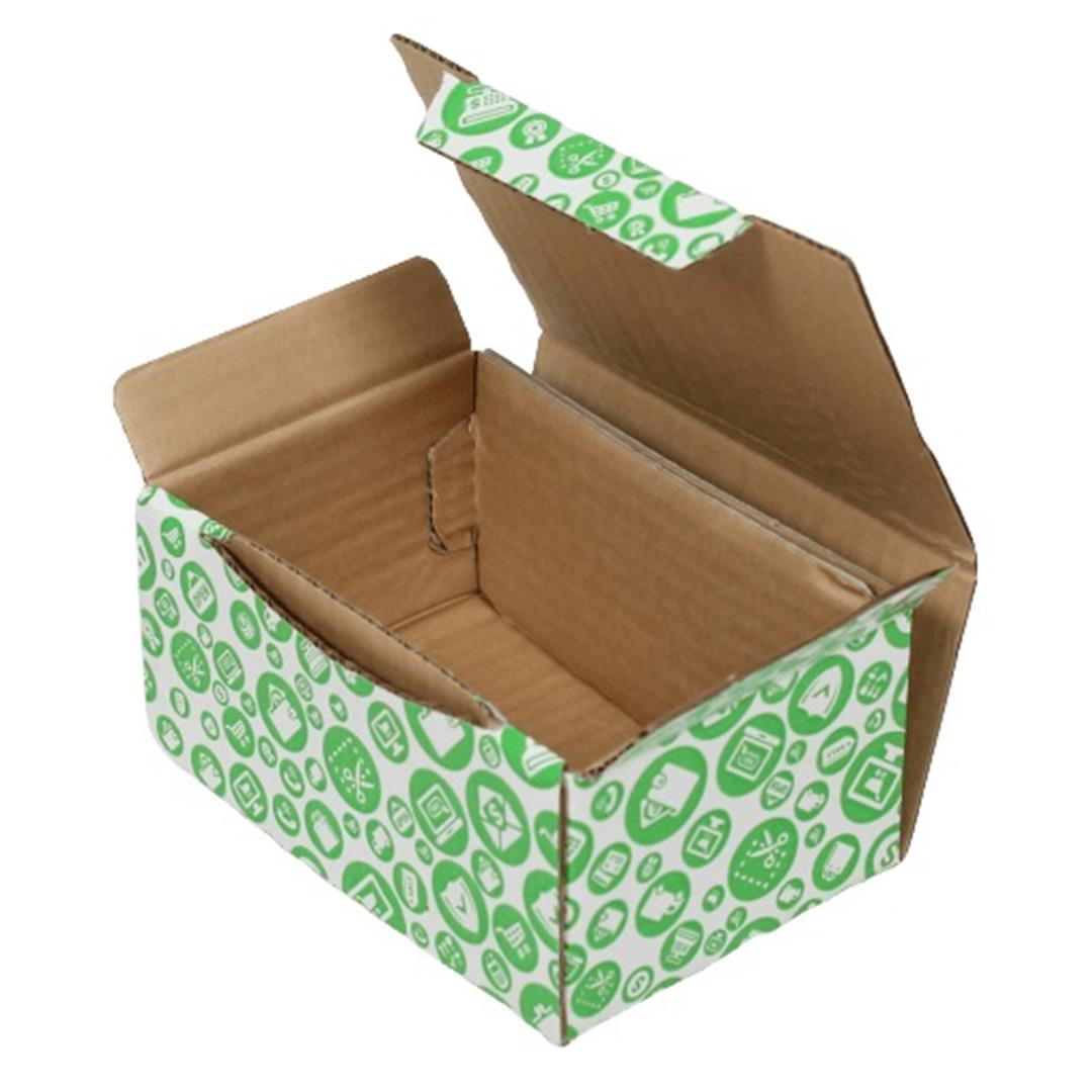 GREEN PATTERNED SHOPPING BOX - 15,5x11x7,5 CM
